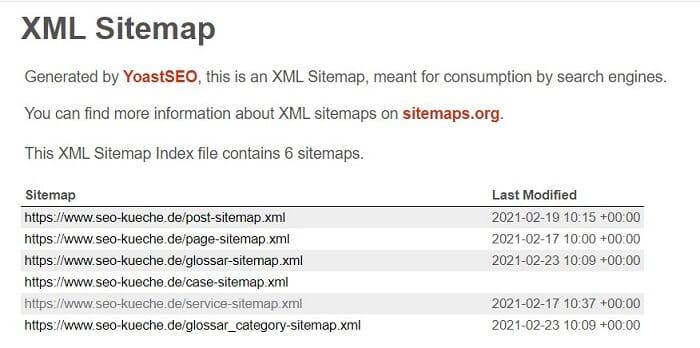 generated xml sitemap
