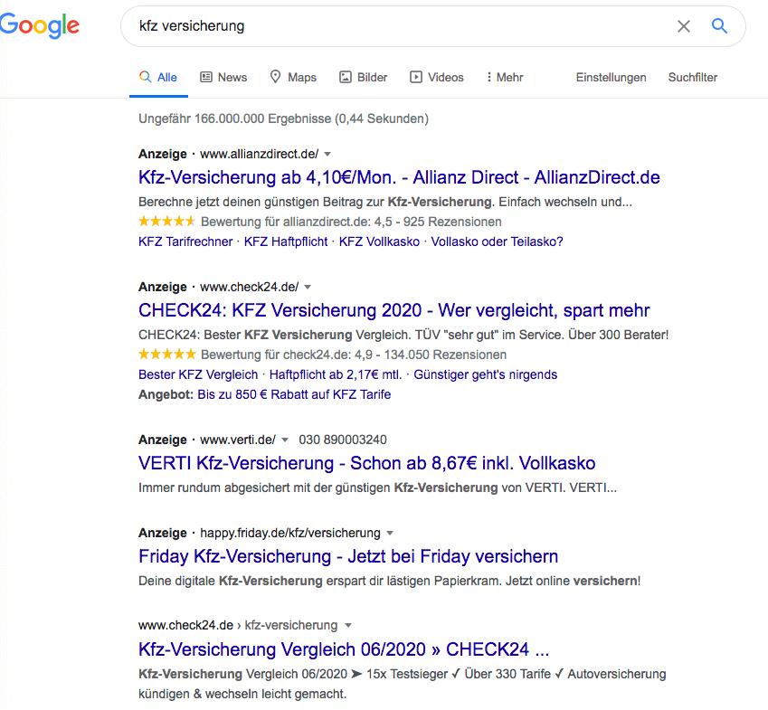 Google Suchergebnis Juni 2020
