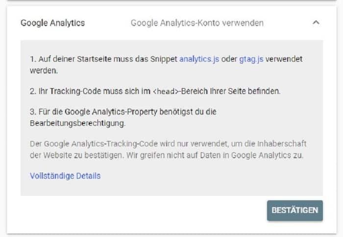 google analytics search console einrichten