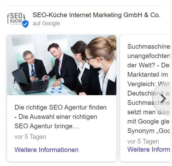 oogle-Beitrag unterhalb des GMB-Profils.