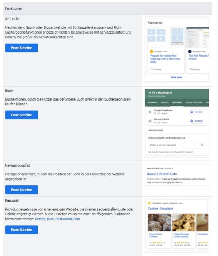 google datentypen strukturierte daten