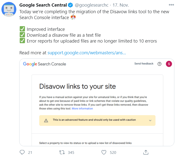 google disavow tool search console