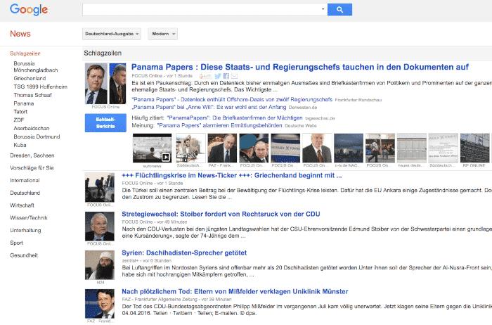 Bilder in google Suchergebnissen