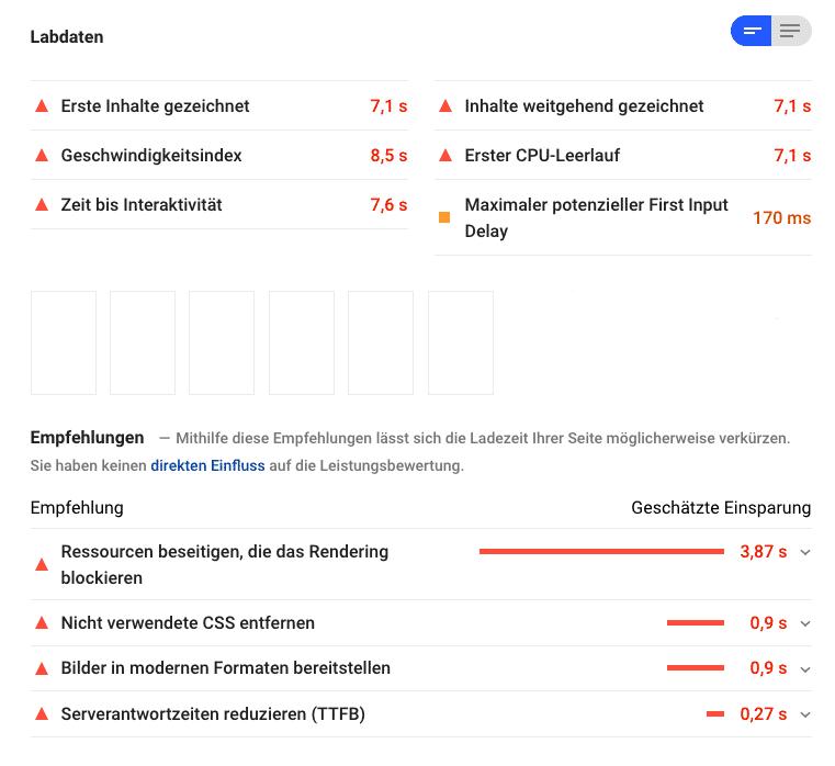 Empfehlungen in Google PageSpeed