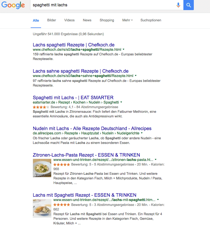 Rezepte mit Bildern in Google Suchergebnissen