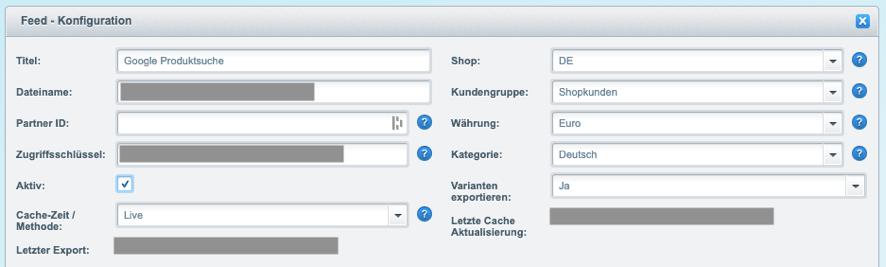 screenshot formatierung google shopping feed shopware
