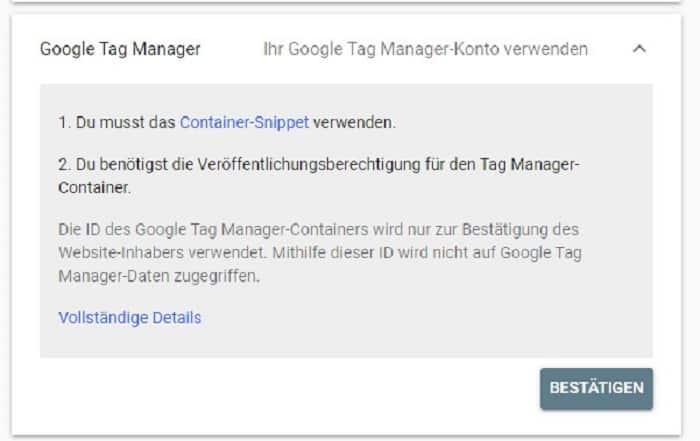google tag manager search console einrichten