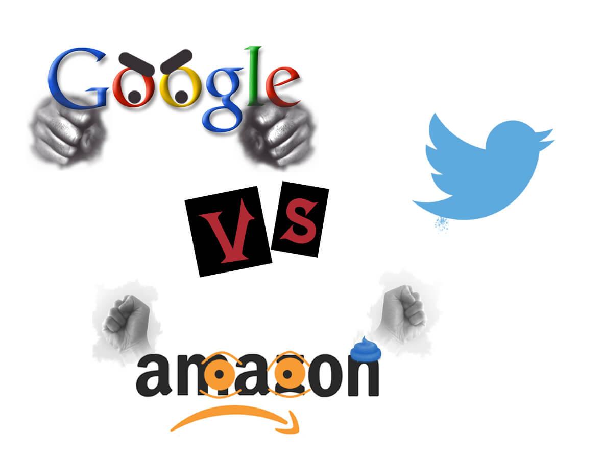 google vs twitter vs amazon