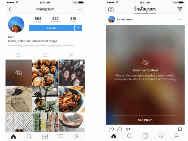Maskierter Inhalt auf Instagram