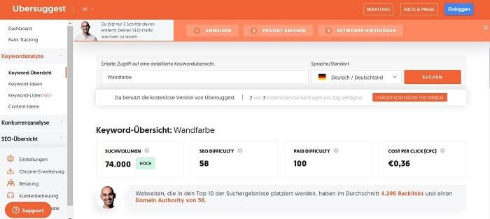 keyword recherche ubersuggest