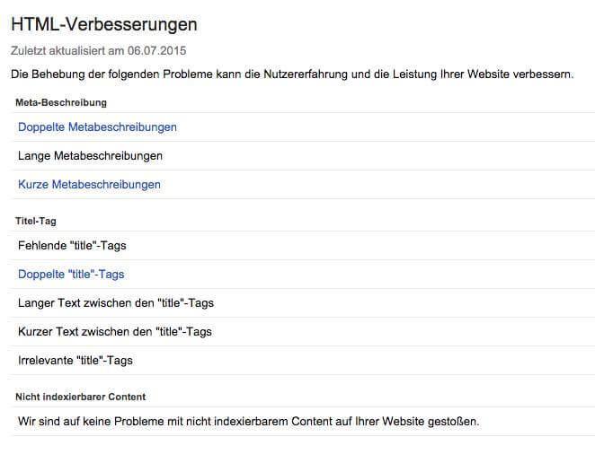 Search Console HTML-Verbesserungen