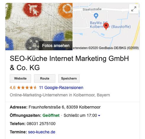das google my business profil der seo küche