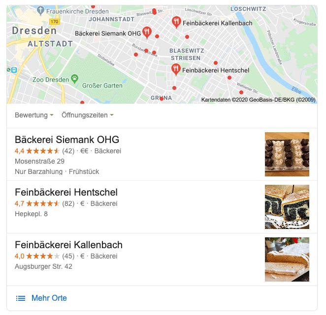 Eine Bäckerei in Dresden als Beispiel für local seo