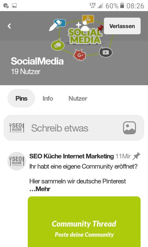 Pinterest Community - mobile Ansicht