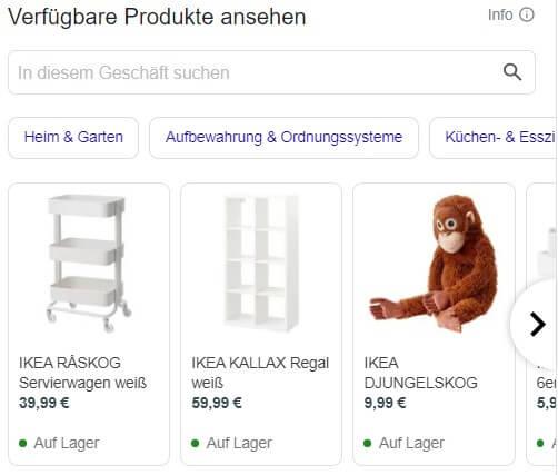 Produkteübersicht bei Google My Business.