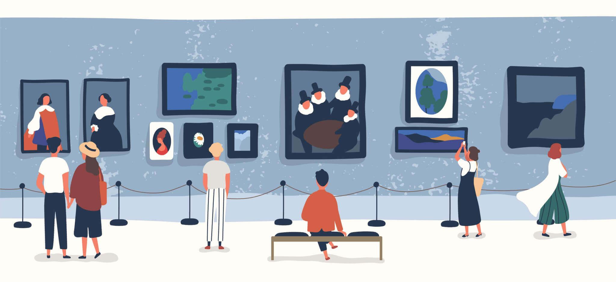 SEO-Bildoptimierung ist entscheidend fpr Pagespeed und Ranking. Auf diesem Bild betrachten Besucher verschiedene Gemälde.