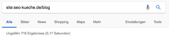 indexierte Webseiten mit site:-Abfrage der Unterseite seo-kueche.de/blog kenntlich machen