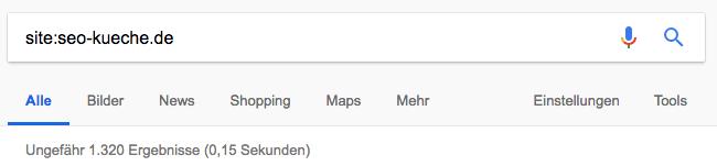 indexierte Webseiten mit site:-Abfrage der Website seo-kueche.de aufspüren