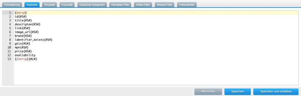 google shopping feed shopware template screenshot