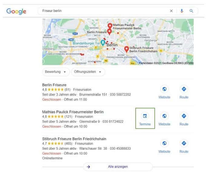 Terminbuchungsfunktion bei Google My Business