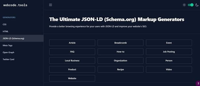 webcode tools markup generator