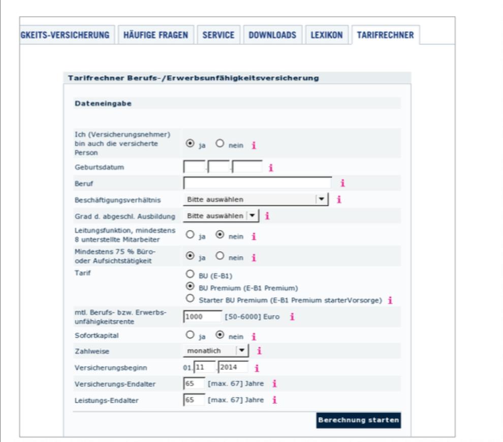website formular beispielbild