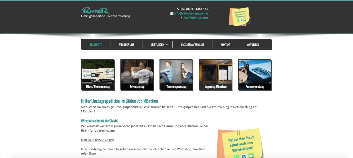 Screenshot der Website ritter-umzuege.net