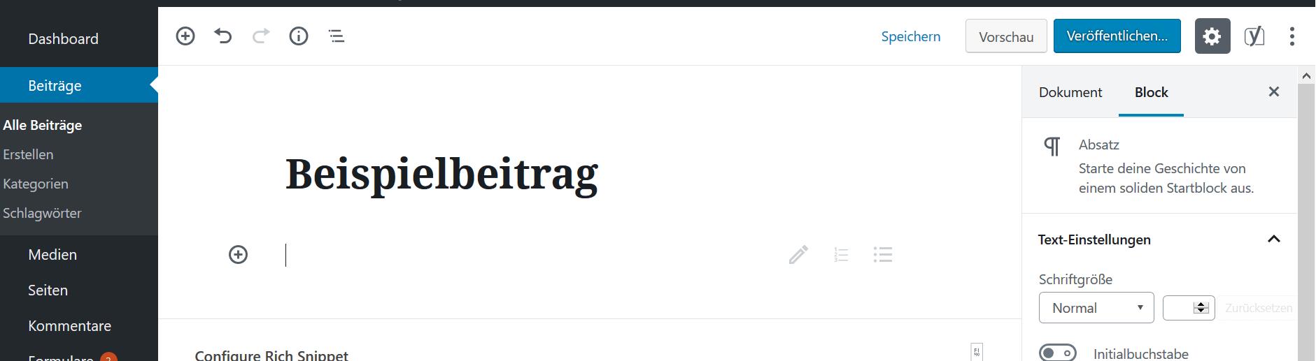Der neue Gutenberg-Editor ab WordPress 5