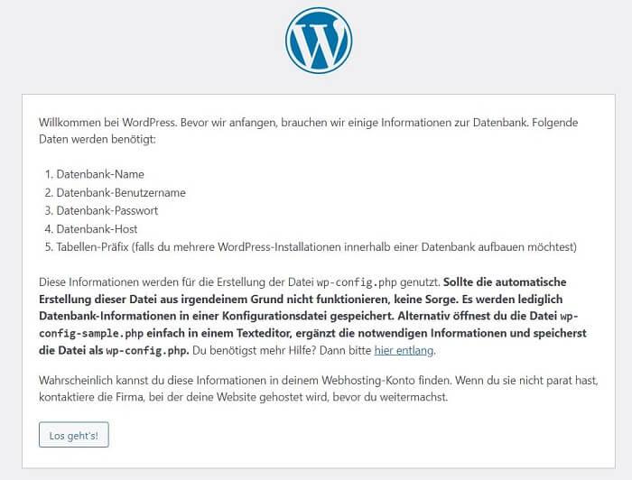 WordPress installieren: Schritt 1
