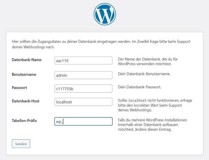 WordPress installieren: Schritt 2