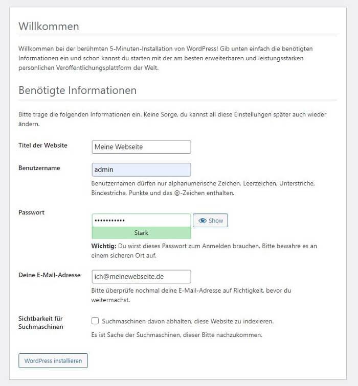 WordPress installieren: Schritt 3